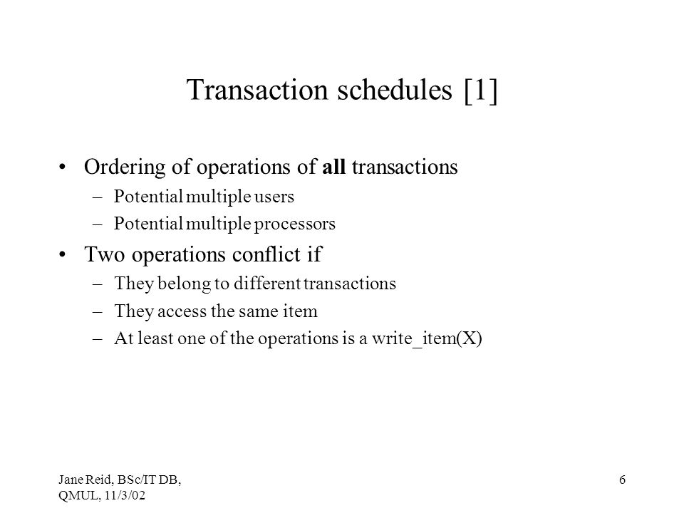 Transaction schedules [1]